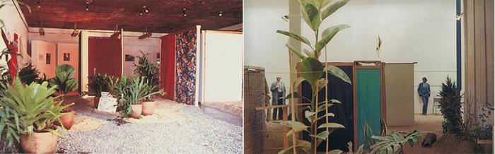 """Fig. 3. Hélio Oiticica. Vista parcial da Instalação Tropicália, mostra """"Nova Objetividade Brasileira"""", MAM/RJ, 1967. Vista parcial de Tropicália, Whitechapel Art Gallery, Londres, 1969. Fonte: Itaú Cultural"""