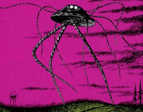 """Ilustração de Edward Gorey para a edição de 1960 de """"Guerra dos Mundos"""", de Hebert George Wells."""