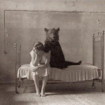 Transcrição. Autocuidado. Fotografia em preto e branco. Urso.