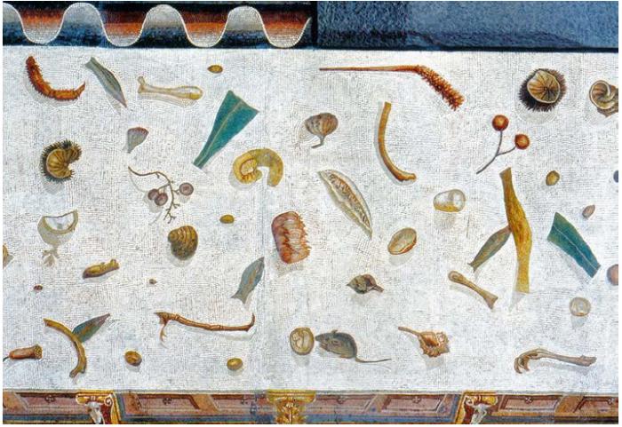 Detalhe de piso não varrido. Pompeia, mosaico, I a.C.