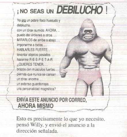 """Ilustração. Anúncio mostra um macaco grande, de sunga e postura de luta. Há um título """"No seas un debilucho!"""" e segue um texto de anúncio."""