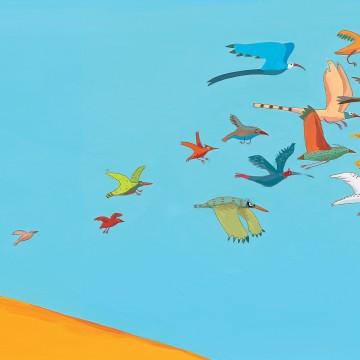 Imagem de capa. Germano Zullo. Os pássaros. Livro infantil.