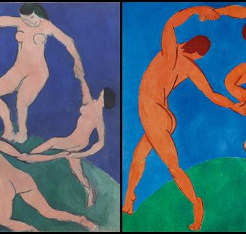 A dança. Matisse. Pintura. Figura. Fundo.